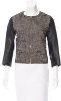 Derek Lam 10 Crosby Leather-Accented Linen Jacket