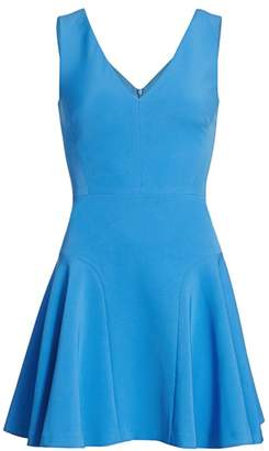 Milly Cady V-Neck Flared Mini Dress