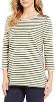 Multiples 3/4 Sleeve Stripe Print Knit Top
