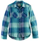 Mudd Girls 7-16 Metallic Plaid Button-Front Flannel Shirt
