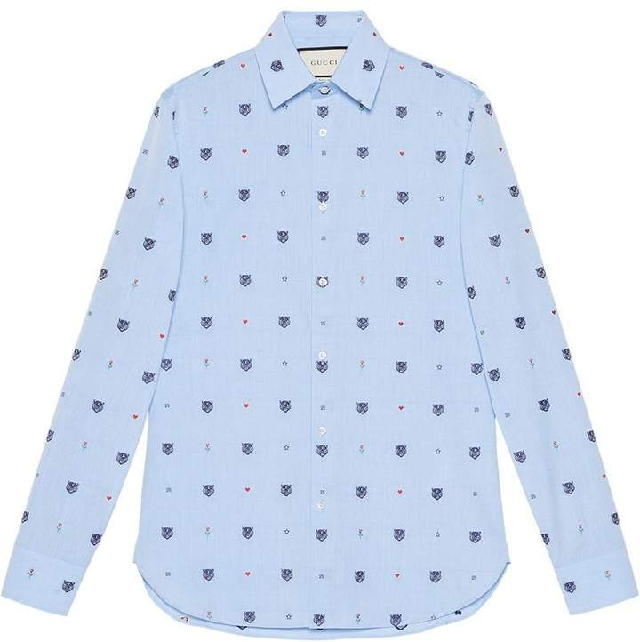 Gucci Feline head and symbols fil coupé shirt