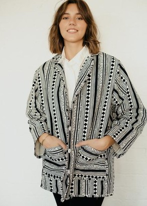 Humphries & Begg - Statement Jacket In Black & White Cabaret Stripe Print - S