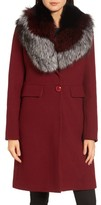 1 Madison Women's Genuine Fox Fur Trim Reefer Coat