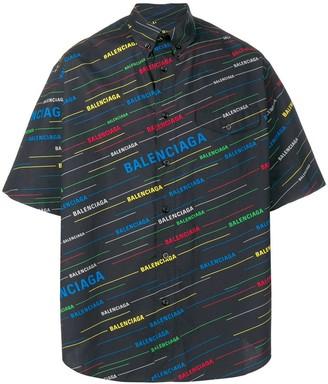 Balenciaga logo print button down shirt