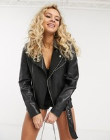 Barneys New York Barneys Originals leather jacket with belt