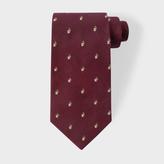 Paul Smith Men's Burgundy Embroidered Rabbit Motif Silk Tie