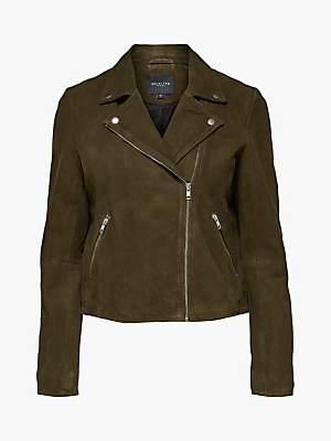 Selected Marlen Suede Jacket, Olive Night