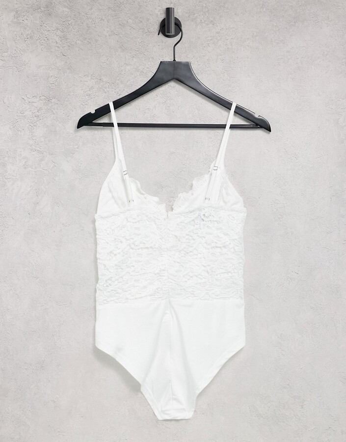 Thumbnail for your product : Parisian v neck lace detail bodysuit in white