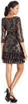 J.R. Nites Dress, Three-Quarter-Sleeve Sequin Fringe Shift