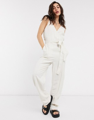 Object wrap jumpsuit in beige
