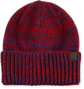 Original Penguin Toben Ribbed Cuffed Beanie Hat, Pomegranate/Blue