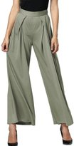 MIXMAX Women High Waist Wide Leg Ankle-length Palazzo Capri Pants