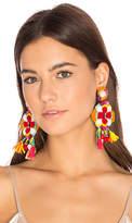 Ranjana Khan Multi Tassel Earring in Red.