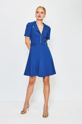 Karen Millen Zip Placket Short Sleeve A-Line Dress