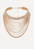 Bebe Layered Crystal Drop Choker