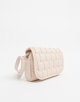 Asos Design DESIGN cross body bag in off white weave