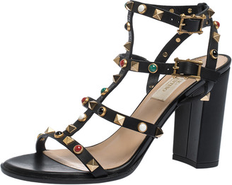 Valentino Black Leather Caged Studded Ankle Strap Sandals Size 37