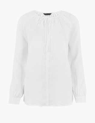 Marks and Spencer Pure Linen Long Sleeve Blouse