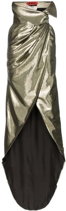 High-Waisted Silk-Lurex Blend Wrap Skirt