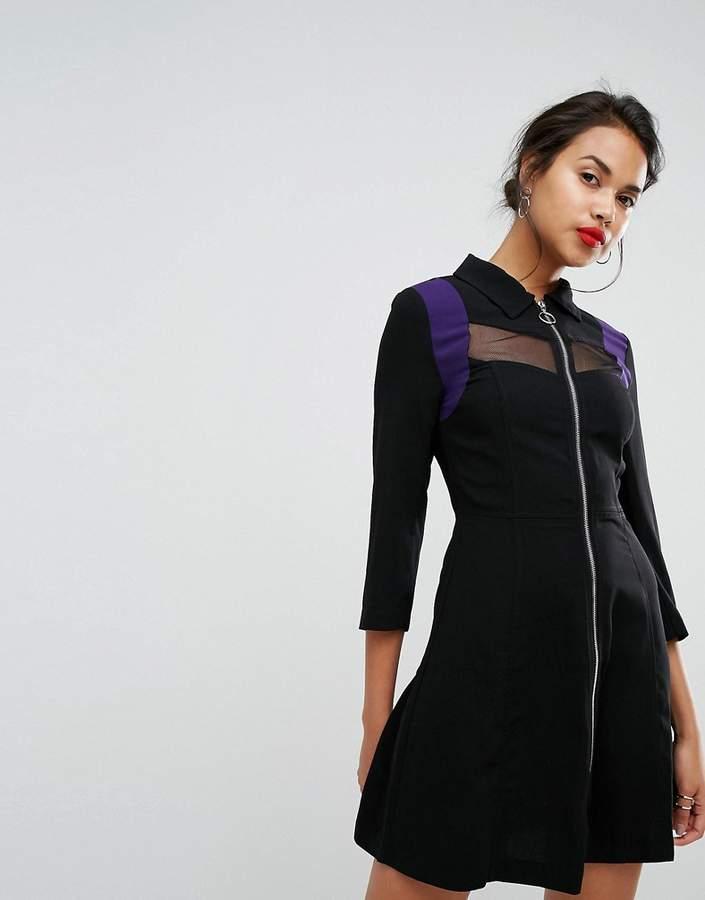 Morgan Mesh Panel Zip Front Dress