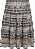 Alexander McQueen Fair Isle-jacquard fluted skirt