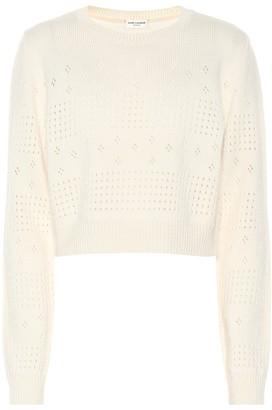 Saint Laurent Wool-blend cropped sweater