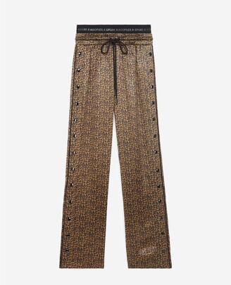 The Kooples Light printed trousers w/leopard motif & logo