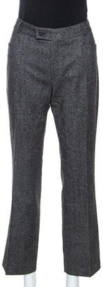 Joseph Grey Herringbone Wool Straight Fit Trousers L