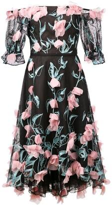 Marchesa off-the-shoulder midi dress