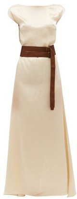 ALBUS LUMEN Inez Boat-neck Belted Silk-satin Dress - Beige