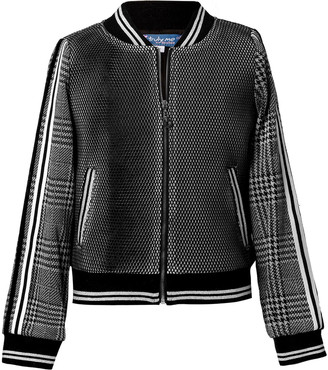 Hannah Banana Girl's Houndstooth Plaid Mesh Bomber Jacket, Size 4-14