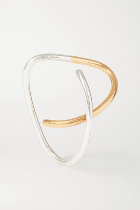 Saskia Diez Net Sustain Cross Gold And Silver Ear Cuff