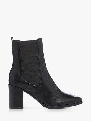 Dune Post Leather Reptile Ankle Boots, Upper, Black