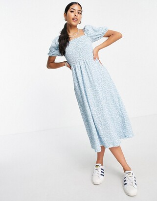 Monki Noelle smocked puff sleeve midi dress in blue floral