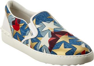 Valentino Leather-Trim Sneaker