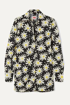 Solid & Striped Floral-print Crepe De Chine Shirt - Black