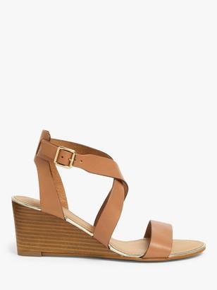 John Lewis & Partners Karen Leather Stacked Heel Wedge Sandals