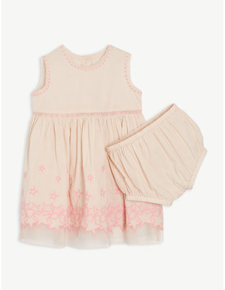 Stella McCartney Embroidered stars cotton dress set 6-36 months