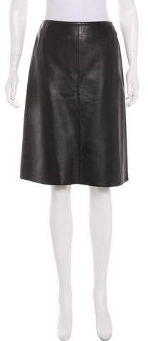 Chanel Leather A-Line Skirt