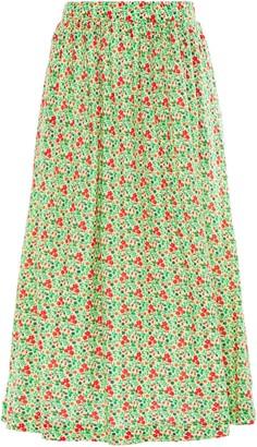 American Vintage Chipiecat Gathered Floral-print Cotton-jersey Midi Skirt