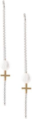 Cross Drop Pearl earring