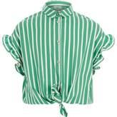 River Island Girls green stripe frill sleeve shirt