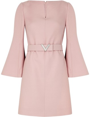 Valentino Pink Belted Wool-blend Mini Dress