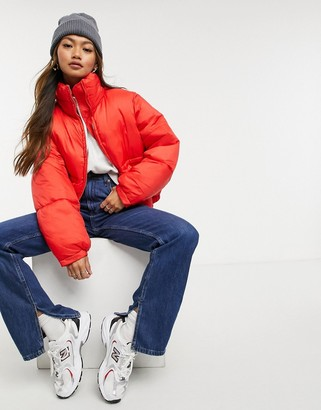 Weekday Hedda short padded jacket in red