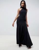 Asos Design DESIGN high neck maxi dress in crepe