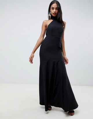 Asos DESIGN high neck maxi dress in crepe