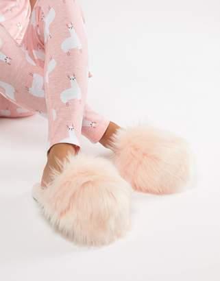 Loungeable faux fur slipper in pink