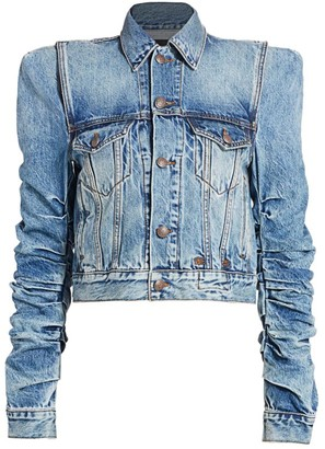R 13 Puff-Sleeve Denim Jacket