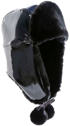 Eric Javits Faux Fur-Line Patent Trapper Hat