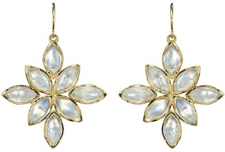 Irene Neuwirth Marquise Rainbow Moonstone Flower Earrings